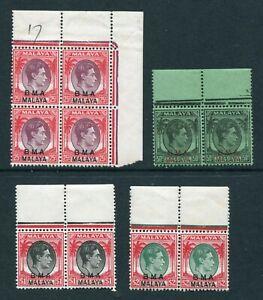 BMA O/P Malaya 1945 KGVI 25c, 50c, $1 & $2 stamps in Multiples Mint U/M MNH