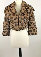BEBE Size XS Rabbit Fur Shrug Cropped Coat Animal Print Collar One Hook Closure
