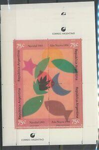 [P70] Argentina Christmas 1993 christmas sheet very fine MNH (5x) value $55