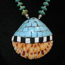 Old Pawn/Estate, Santo Domingo Pueblo Inlaid Shell & Hand-Cut Turquoise Necklace