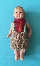 Antike Puppenstuben Puppe, sehr feines Celluloid, mit alter Strickkleidung, gem.