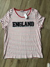 BNWT GEORGE ENGLAND T SHIRT TOP RED WHITE STRIPE UK 16