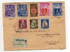 STORIA POSTALE 1951 REPUBBLICA 8 VALORI SU ASSICURATA TRAPANI 20/6 D-07603