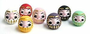 "Set of 7Japanese 2""H Good Luck Daruma Doll Assorted Color /Made Japan"
