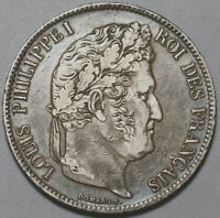 1837-B France 5 Francs AU Louis Philippe I Silver Rouen Crown Coin (19111502R)