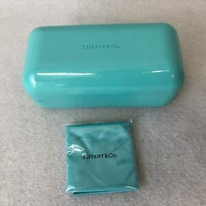 Tiffany & Co Blue Hard Clam Shell Eyeglass Case With New Cleaning Cloth