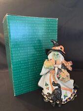 2003 Fitz & Floyd Halloween Harvest Witch Candy Jar Lidded Box - Mint In Box!