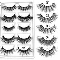 5Pairs SK Mink Hair False Eyelashes Wispy Cross Long Lashes Eye Makeup Extension