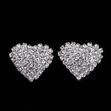 Sparkling Full Rhinestone Crystal Heart Shape Stud Earrings Women Prom Jewelry