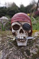 Puckator Sk241 Crâne de Décoration Pirate portant Bandana/couteau Résine rou