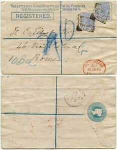 GB QV REGISTERED STATIONERY to ITALY 1882 UPRATED 2 x 2 1/2d from HALSTEAD ESSEX