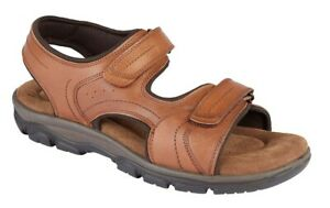 Mens Roamers Leather Sandals Tan Waxy Comfy Padded Twin Touch Fastening