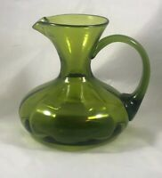 "Vintage Rainbow Art Glass Hand Blown Mini Optic Pitcher 5.5"" Green"