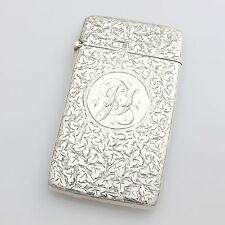 Antique Edwardian Solid Sterling Silver Engraved Card Case Hallmarked 1901