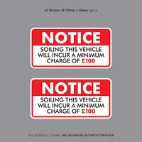Minimum Soiling Charge £100 Sticker Ideal For Taxi Coach Bus Minibus - SKU3131