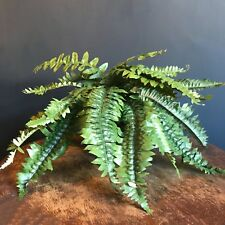 Short Potted Artificial Fern Plant, Realistic Green Faux Houseplant Bush in Pot
