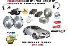 Para Mercedes SLK350 R171 2004-2011 frente y parte trasera y juego de Disco De Freno Almohadillas + Sensores