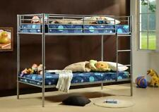 Metal Single Bunk Bed - Single 3ft - Silver Twin Sleeper - With or Without Matts