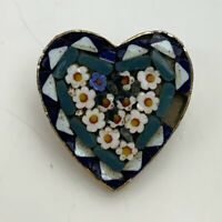 Vintage Italian Mosaic Blue Heart Floral Brooch Pin Italy Gold Tone Flower