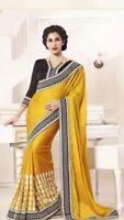 A21 Bollywood Indian Designer Saree Yellow Black Ethnic Party Diwali Wear Sari