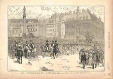 Lille Fête de la Commémoration Siège de 1792 Défilé Cortège Place GRAVURE 1882