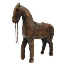"""Old Vintage Rare Horse Figurine Hand Carved Brass Fitted Wooden Statue 7"""" Tall"""