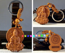 Hot! Classical Fine Carved Wooden key chain keyring (Lucky Kwan-Yin Buddha)