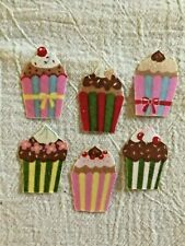 Mini Happy Birthday Cupcake  - 6 - Iron-On Fabric Appliques.