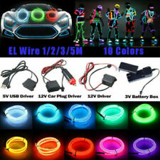 ED Car Interior Atmosphere Glow EL Wire Neon String Strip Lights  Controller USE
