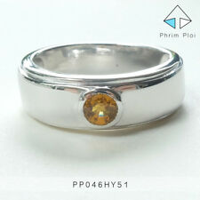 Thai Handmade 100% Natural Yellow Sapphire Gem with 925 Silver Ring PP046HY51