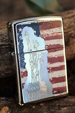 Zippo Lighter - Fusion Statue of Lady Liberty and US Flag - Stained Glass 46396