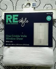 """RE Style Room Essentials One Crinkle Voile Window Sheer White 40"""" x 84"""""""