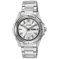 Citizen Eco-Drive Men's AW0031-52A Day/Date Silver-Tone Bracelet 43mm Watch