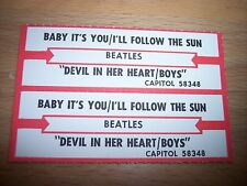 """2 Beatles Baby It's You I'll Follow The Sun Jukebox Title Strip 7"""" 45RPM Record"""
