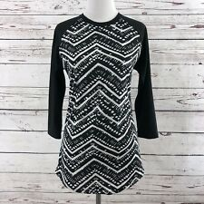 LuLaRoe Randy Size XS Xsmall Black White Geometric Body Black Raglan Sleeves
