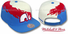 Nordiques 'PAINTBRUSH SNAPBACK' White-Red-Sky Hats by Mitchell & Ness