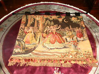 Beautiful Victorian  Tapestry Dark Brown Pinks Tans Salmon 38 x 50 High Quality