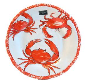 "Set / 6 Cynthia Rowley Melamine 11"" Dinner Plates Crab - NEW"