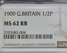 GREAT BRITAIN 1909 HALF PENNY NGC MS 62 RB