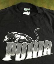 Vintage Mens M 80s PUMA Solid Black Brand Half Shirt Graphic Logo T-Shirt
