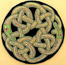 Hand-Embroidered Applique. Irish Celtic Knot Dragons