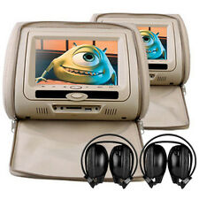 "Universal Beige 7"" Leather-Style HD Car DVD Headrests with SD/USB/Games Mercedes"