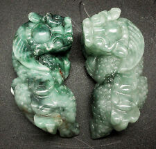"BURMA MOTTLE GREEN ""A"" JADE Chinese IMPERIAL GUARDIAN-LION Fu Foo Dog Carving"