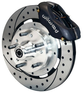 """WILWOOD DISC BRAKE KIT,FRONT,49-54 CHEVY,12"""" DRILLED ROTORS,BLACK CALIPERS"""