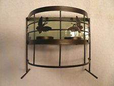 Rod Iron Tin Tealight Candle Holder Lamp Light Frosted Glass Shade Butterflies