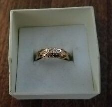 Estate Mourning Ring 9ct Gold Edwardian Ladies Floral Hairwork Size S 1/2 (9.5)