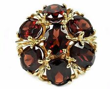 VTG Women's Natural Garnet VVS2 8.25 ct Cluster Filigree Design Ring 10k Gold