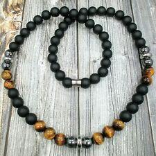 "HIP 24""L STAINLESS STEEL 10mm Tigers Eye+Onyx+Hematite Gemstone Beaded Necklace"