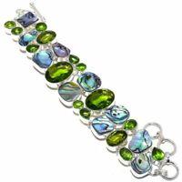 """Abalone Shell, Peridot Gemstone Silver Fashion Jewelry Bracelet 7-8"""" SB4722"""