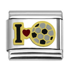 Italian Charms I Love Soccer 9mm Stainless Steel Sports Charm Link LS1101